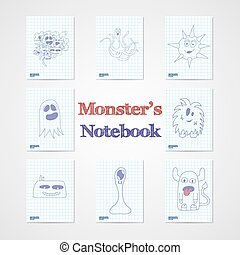 Set of eight notebook sheets with funny monsters