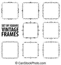 Set of eight vintage elegant black frames