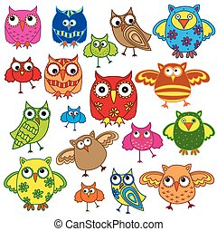 Set of eighty colourful owls - Set of eighty colourful...