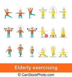 set of elderly exercising