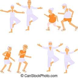 Set of Elderly people doing exercises