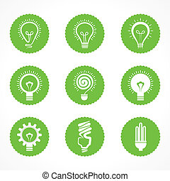 Set of electric bulb icons