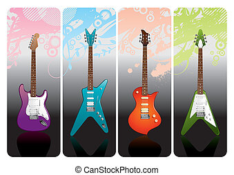 Set of electro guitars