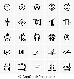 Electronic components icons - Set of Electronic components...