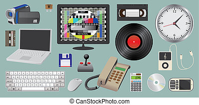 set of electronic daily usage devices, ilustration