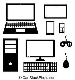 Set of electronic device icons