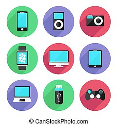 Set of electronic devices icon flat color style. Vector Illustration