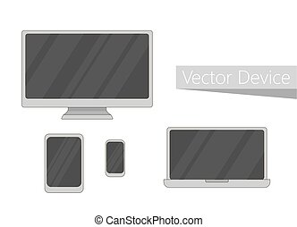 Set of electronic devices icon. Flat design devices icons, technology