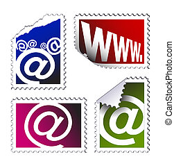 set of electronic post stamps