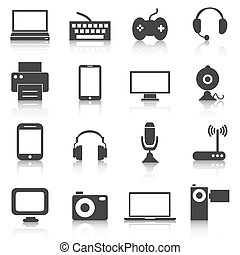 Set of electronics icons, devices, tech. Vector illustration