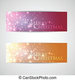 set of elegant Christmas banners with sparkles