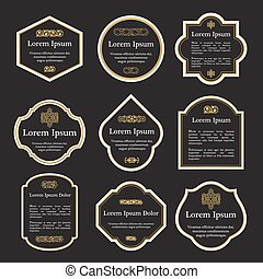 Set of elegant gold and black vintage labels