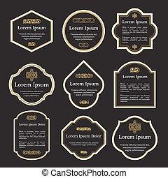 Set of elegant gold and black vintage labels