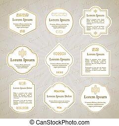 Set of elegant gold and white vintage labels