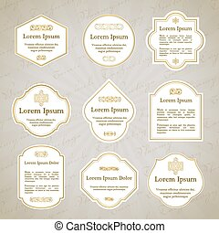Set of elegant gold and white vintage labels