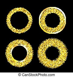 Set of elegant luxury gold textured frames