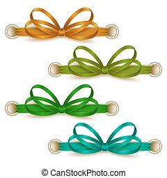 Set of elegant silk colored bows for design. Vector...