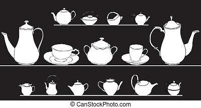 set of elegant tea pots