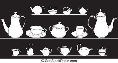 set of elegant tea pots