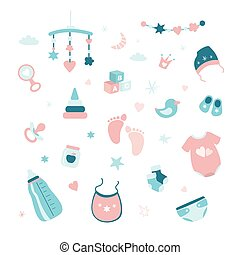 Set of elements and objects for a newborn baby. Collection of symbols and icons for infant.