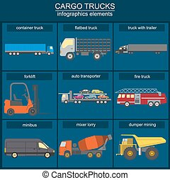 Set of elements cargo transportation: trucks, lorry for creating your own infographics or maps. Vector illustration