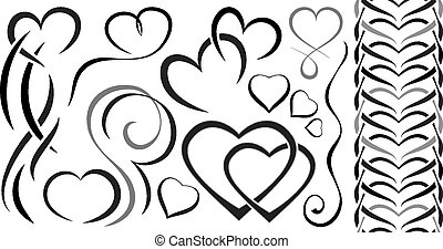 Set of elements design for Valentine's Day. hearts