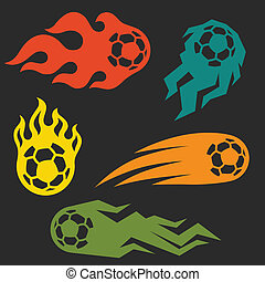 Set of elements fire soccer balls for design.