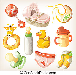 Set of design elements for baby shower. Vector illustration.