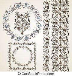 Set of elements for design. Frame, border with flowers.