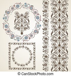 Set of elements for design. Frame, border with flowers.