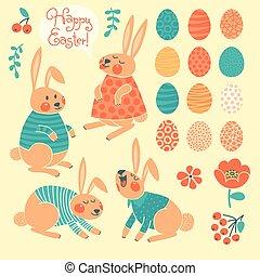 Set of elements for design Happy Easter.