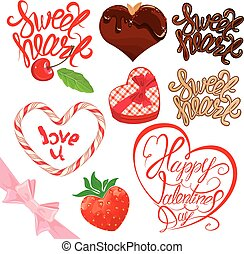 Set of elements for Valentines day design. Calligraphic text Swe