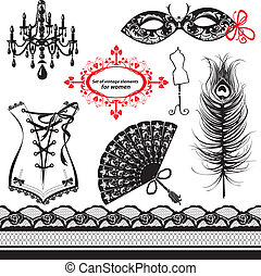 Set of elements for women - Carnival Mask, Corset, Peacock...