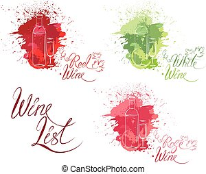 Set of elements in grunge style with bottle and glass, isolated on white background. Handdrawn text Wine list, Family Winery. Design for restaurant, bar, cafe menu or label.