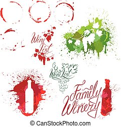 Set of elements in grunge style with Bunch of grapes, bottle, wine stains isolated on white background. Handdrawn text Wine list, Family Winery. Design for restaurant, bar, cafe menu or label.