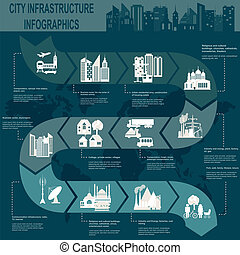 Set of elements infrastructure city, vector infographics. Illustration