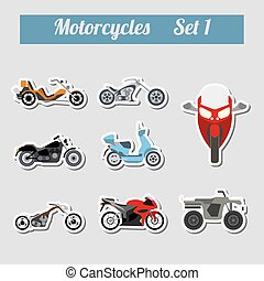 Set of elements motorcycles