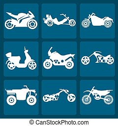 Set of elements motorcycles icon