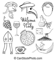Set of elements of Italian culture. Welcome to Italy. Vector...
