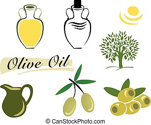 set of elements of olive oil. Branch with green olives
