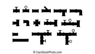 set of elements of plumbing, simple flat design