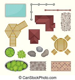 Set of elements of the park. View from above. Vector illustration.