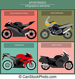 Set of elements sportbikes for creating your own...