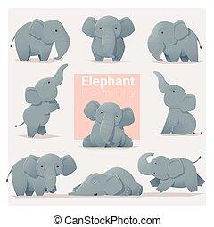 Set of Elephant family