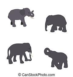 Set of Elephant Isolated on White Background. Eps10.