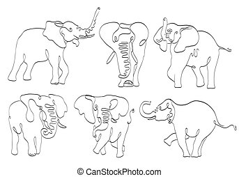 set of elephants line art on white. stylized drawing by hand of wild. vector illustration