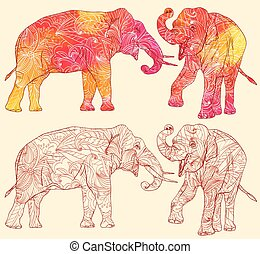 Set of elephants with decorative floral pattern