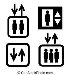 Set of elevator icons. Vector illustration.