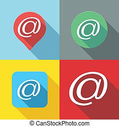 Set of Email / At sign / Arroba symbol flat icon long shadow
