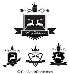 Set of emblem with deer in retro vintage style